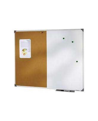 Tableau bivalent liège et laqué blanc 90 x 120 cm cadre alu